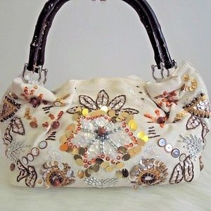 Vintage GUESS Satchel Beaded Sequins Bamboo Handle